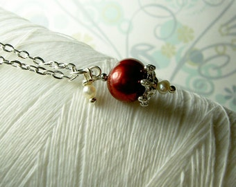 HALF PRICE - Precious Little Pearl - red pearl necklace / pearl / red pearl / red / wedding jewelry / pearl jewelry / bridal necklace