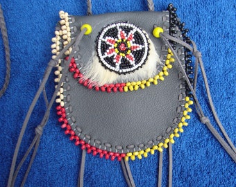Medicine Bag  Beaded  Leather  Native  Fur  Pouch  Indian  Necklace Bag  Regalia  Boho  Child  Teen