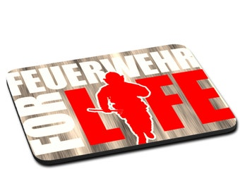 "MOUSEPAD printed with ""Feuerwehr for life"""