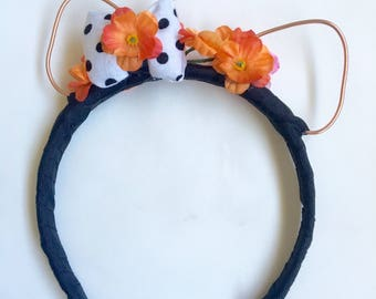 Polka dot bow cat ears