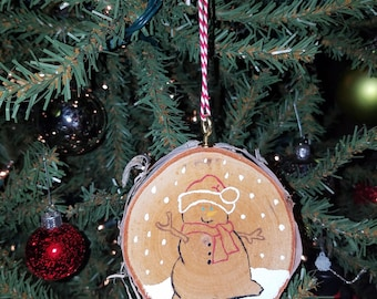 Hand painted white birch ornament