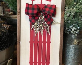 Sled Farmhouse Decor - Wood Sign - Winter Decor - Holiday Decor