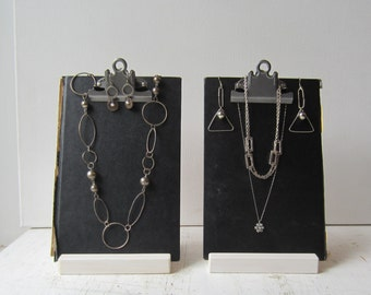 Two Black Clipboard Book Jewelry Displays - Modern Necklace & Earring Display - Recycled Jewelry Display - Ready to Ship