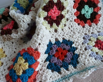 "Crochet BABY BLANKET AFGHAN Lap Granny Squares Soft Warm New Gift  30"" x 30"" Girl Boy"