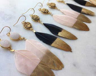 Gold Dipped Feather Earrings, Gold Druzy Earrings, White Druzy Earrings, Black Feather Earrings, Statement Earrings Hero, Statement Jewelry