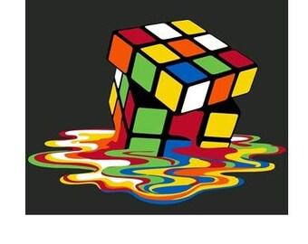 t-shirt melting puzzle cube funny humor  cool  tee shirt  t-shirts melt cubik game