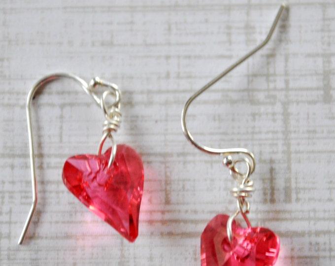 Hot Pink crystal Heart earrings, Valentine earrings, gift for her, love