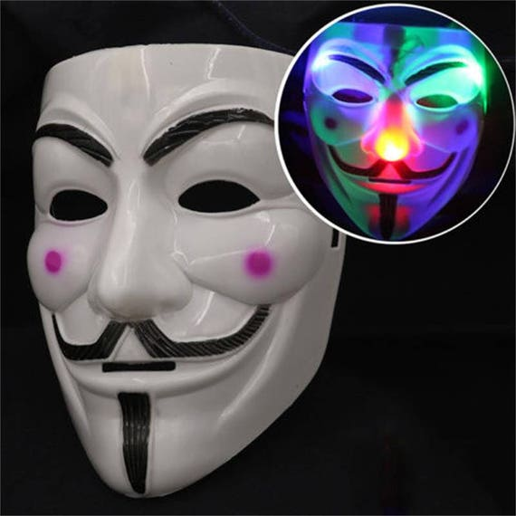 LED light up Anonymous Guy Fawkes Mask costume accessory