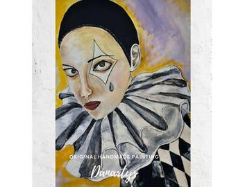 Original canvas painting with clowns, original Canvas painting, Pierrot mask, with figurative Painting on canvas, Painting Carnival