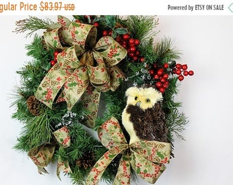 ON SALE Winter Wreath for Front Door, Owl Wreath, Woodland Wreath, Rustic County Wreath for Door, Rustic Decor