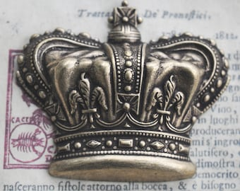 Royal Crown Brass Stamping, Extra Large, Brass Ox, Medieval Stampings Made in the USA