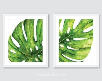 Feuille de Monstera Wall Art Print - Tropical Leaf Wall Art - Monstera Wall Art - Monstera plante aquarelle Art - décoration murale feuille - set de 2