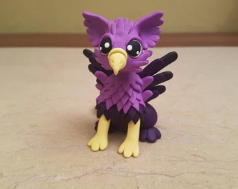 purple griffin figurine, handmade griffin sculpture, Christmas gift idea, polymer clay fantasy creature, handcrafted griffin statue, holiday