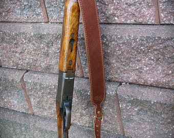 Customized Leather Shot gun Sling padded and BROWN with name or initials.