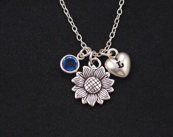 sunflower necklace, sterling silver filled, Initial necklace, birthstone necklace, silver flower charm, sister friend gift, flower for girl