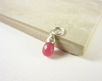 L - Pink Sapphire Jewelry - Sterling Silver Charms - Natural Sapphire Charm - Genuine Sapphire Pendant - September Birthstone Jewelry