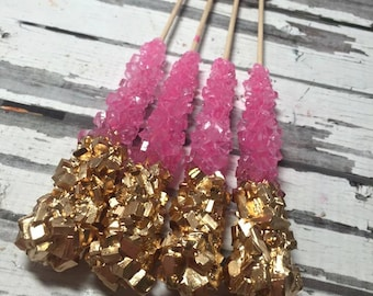 Light Pink Rock Candy Sugar Sticks Gold Tips 12 Sweets Table Birthday Party Favors Wedding Baby Bridal Shower Candy Display Gluten Free
