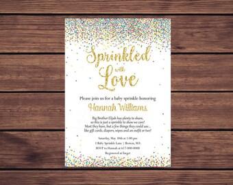 Sprinkled with Love Baby Sprinkle Invitations Girl Boy Gender Neutral, Baby Boy Baby Girl Confetti Sprinkle Printable Digital 445
