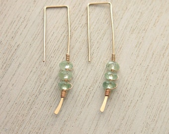 Prehnite Gold Twigs Earrings . Prehnite Goldfilled Modern Geometric Earrings