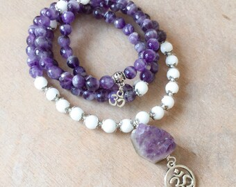 Amethyst Mala 108 Beads | Amethyst White Jade with Crystal Geode | Yoga Om Aum Bracelet | Meditation Prayer Beads Japa Mala