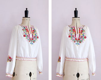 Vintage 1960s 70s 30s style embroidered Hungarian blouse - Peasant blouse - Hungarian top - Peasant top - Folk blouse - Gypsy blouse - Boho
