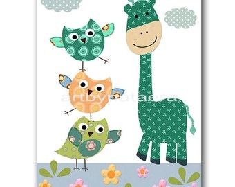 Giraffe Nursery Print Kids Art Baby Nursery Printable Digital Baby Art Print Digital Download Print 8x10 11X14 INSTANT DOWNLOAD Print Owl