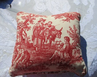 """REDUCED Vtg Waverly? Cream Red Toile French Farm Countryside Field Scene Throw Pillow, 15"""" x 16"""""""