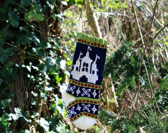 Castle Christmas stocking, Fair Isle Holiday Stocking, Knit Christmas stocking, Green Ornament, Fairisle Christmas, - SRGRB