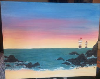 Painting, sunset, ships, boat, boats, rocks, rocky shore, ocean, beach