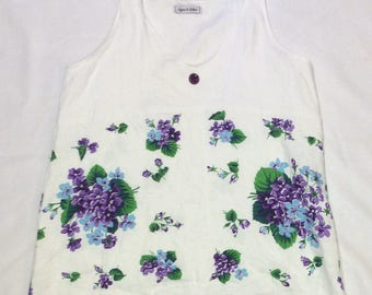 S/M Vintage Repurposed Tablecloth Sleeveless Top - Purple Floral