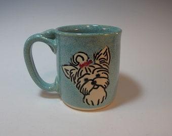 Dog Mug Scottie Westie Terrier Aqua Green Large - Holds 16 ounces - Handmade Pottery