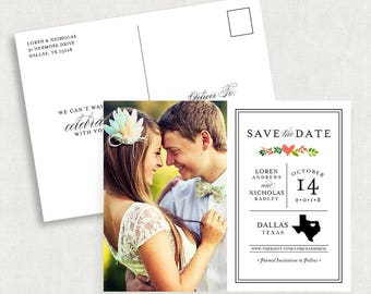 Texas Save the Date Postcards, Texas Save the Dates with Photo, Photo Save the Date Postcards, Printable Save the Dates, Save the Date PDF