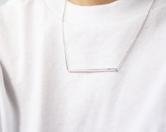 Silver bar necklace // layering necklace