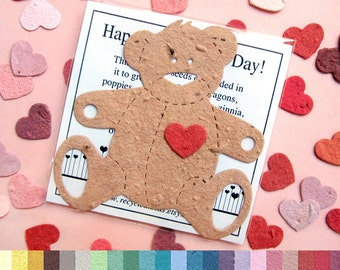 10-60+ Teddy Bear Plantable Favors - Flower Seed Paper - Birthday Party Baby Shower