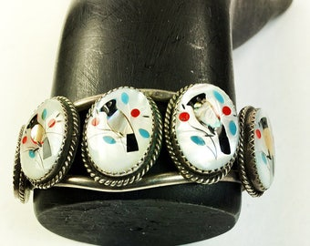 Zuni Sterling Silver Bracelet - Mother of Pearl Cabochons Inlaid with Shell, Turquoise, and Coral - Sterling Silver Cuff