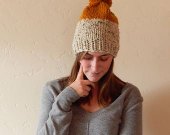Chunky Slouchy Two-Tone Knit Hat Beanie with Pom Pom Δ The Audrey Δ Oatmeal & Butterscotch