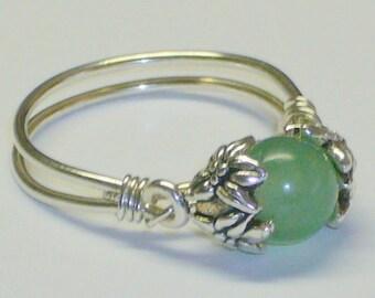 Aventurine Healing Bead Ring, Sterling Silver