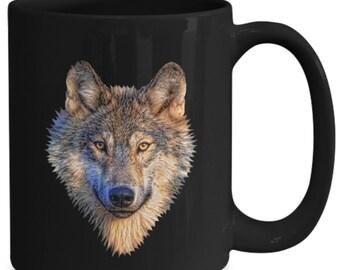 Awesome wolf head - coffee mug - coffee cup - novelty - gift - 11oz - 15oz