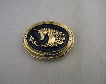 Vintage Corday Unicorn Solid Perfume Brass Enamel Compact