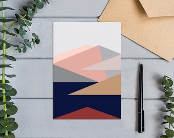 Roy's Peak View from the Summit, Wanaka, New Zealand Modern Geometric Design Greeting  Card