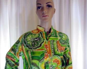 1960's Catherine Ogust Mod Shift Dress, Medium, Cotton, Green, Yellow, Rust, 1960's, 1970's, Catherine Ogust, Tunic, Penthouse Gallery