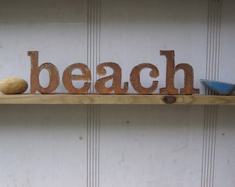 "Ready To Ship!  Metal ""beach"" Sign.  Custom words available. From Screaming Horse Iron Works."