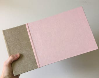 Instant Photo Guest Book in Taupe Suede and Dusty Pink Cloth, Holds 96, 144 or 192  images