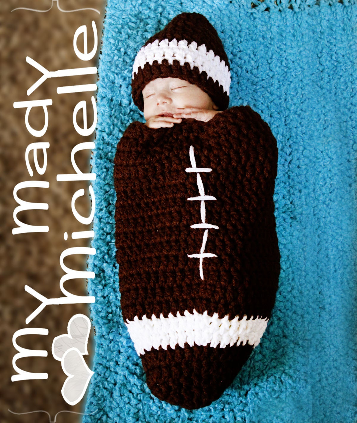 Infant Crochet Football Cocoon Foot Ball Hat great for