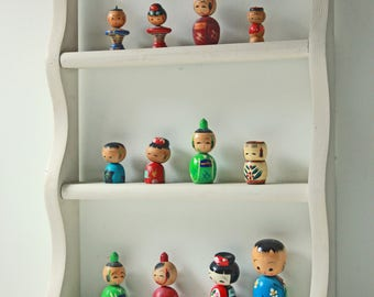 Collection of 12 vintage wooden petite kokeshi dolls - cute wall display for kids room