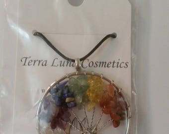 Chakra tree of life wire pendant necklace