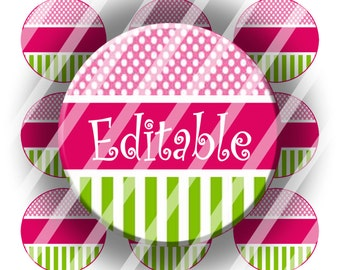 "Editable Bottle Cap Collage Sheet - Perfectly Pink (159) - 1"" Digital Bottle Cap Images"