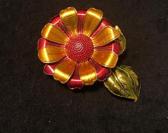 Vintage Enamel Flower Brooch Made in Germany