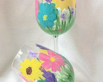 Hand painted wine glasses, spring flower wine glass, custom wine glasses, wine tumbler, stemless wine glass