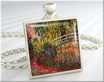 Monet Irises Pendant, Bridge Over Pond, Claude Monet Water Irises, Art Necklace, Garden Art Charm, Gift Under 20, Square Silver 740SS
